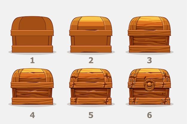 Coffre en bois, six étapes par étape tirent la poitrine.