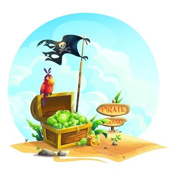 Coffre avec des émeraudes et un perroquet sur un tas de sable sous les nuages