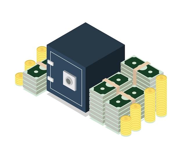 Coffre-fort avec de l'argent isométrique