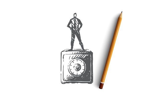 Coffre-fort, argent, sécurité, finances, concept de boîte. main dessinée homme debout sur un coffre-fort pour l'esquisse de concept d'argent. illustration.