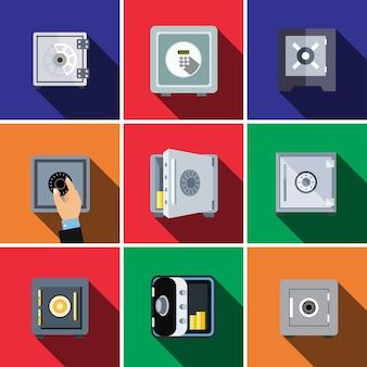 Coffre-fort de banque plat icon set illustration isolé vecteur signe symbole