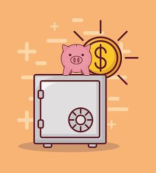 Coffre fort et design de l'argent