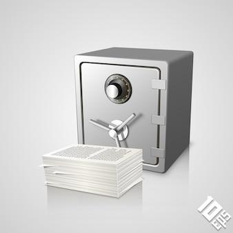 Coffre-fort avec des documents objet d'art. illustration vectorielle