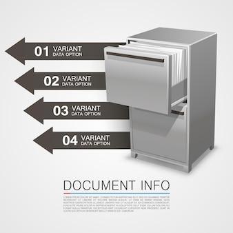 Coffre-fort avec informations sur les documents. illustration vectorielle