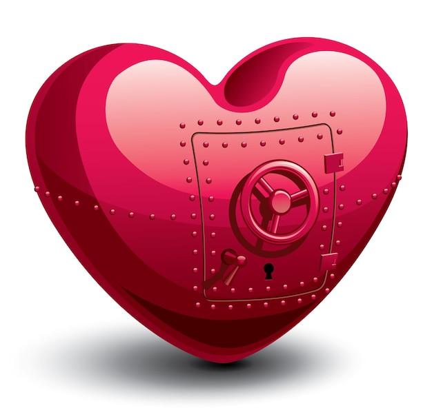 Coffre-fort sous forme d'illustration de coeur