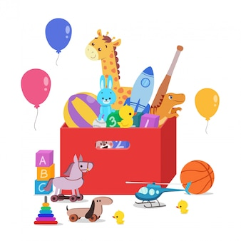 Coffre à jouets rempli de jouets pour enfants