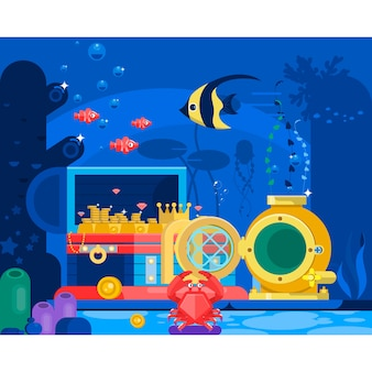 Coffre d'or dans le sable sous l'eau.marine life landscape - l'océan et le monde sous-marin avec des habitants différents. illustration vectorielle