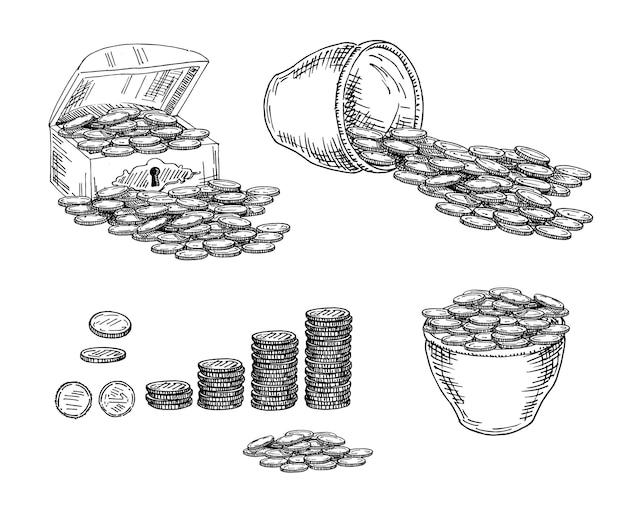 Coffre avec pièces, pot avec pièces. esquisser.