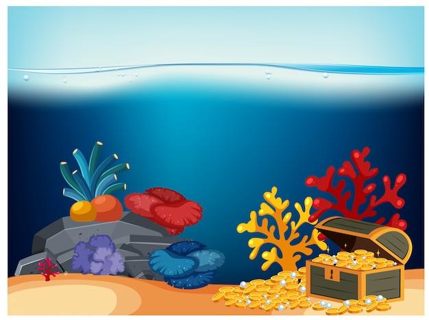 Un coffre de pirate sous l'océan