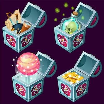 Coffres isométriques de dessins animés avec des trésors.