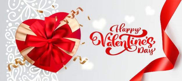 Coffret 3d avec bannière de la saint-valentin avec un arc
