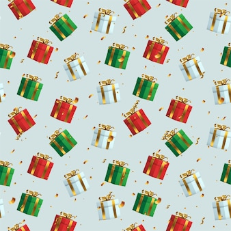 Coffret cadeau 3d avec ruban d'or enveloppé de motif sans couture