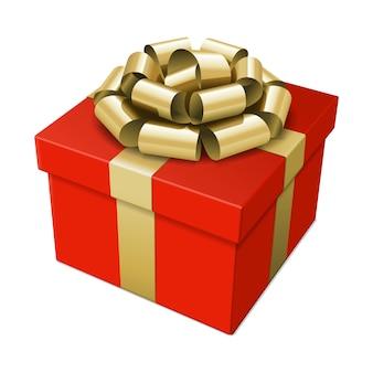 Coffret cadeau avec un arc doré et ruban isolé sur illustration blanche