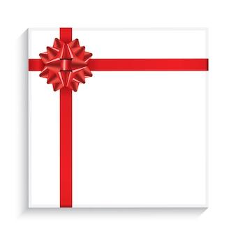 Coffret cadeau avec arc rouge, ruban et espace de copie. vue de dessus. illustration vectorielle.