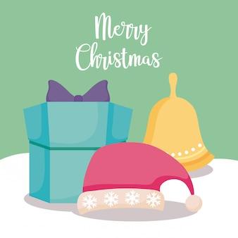 Coffret cadeau avec chapeau et cloche de noël