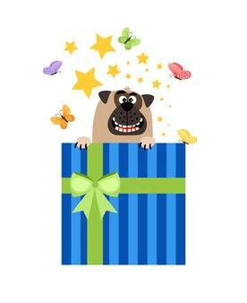 Coffret cadeau chiot. chien en illustration vectorielle de boîte actuelle pour carte de voeux
