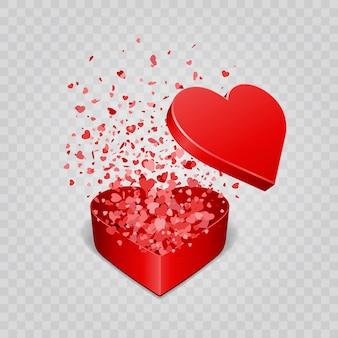 Coffret cadeau et confettis coeurs isolé sur fond transparent illustration vectorielle
