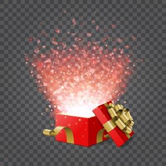 Coffret cadeau et confettis coeurs isolés sur l'illustration de la transparence