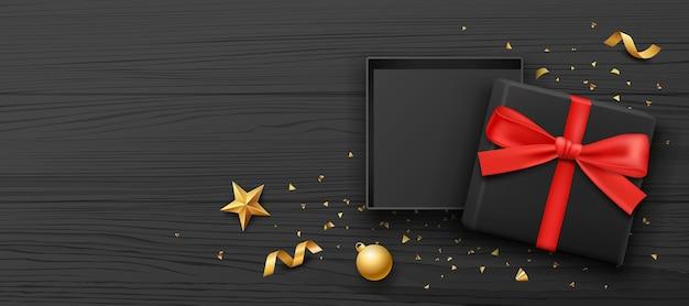 Coffret cadeau couleur noire et ruban rouge