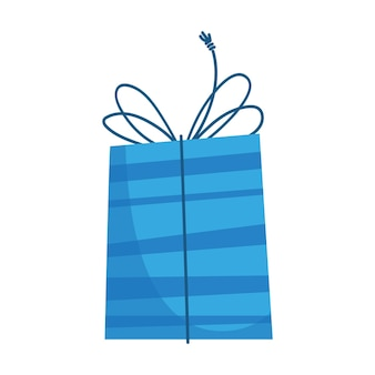 Coffret cadeau dans un emballage bleu pour noël ou anniversaire du nouvel an dans un style plat pour enfants de dessin animé