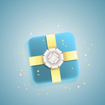 Coffret cadeau décoratif avec noeud argent et or