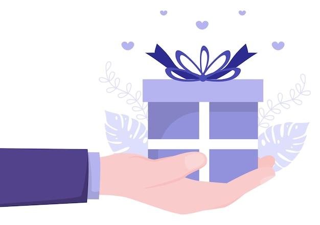 Coffret cadeau emballé coloré avec ruban et confettis pour surprendre vos amis pour l'illustration vectorielle de fond