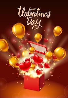 Coffret cadeau happy valentines day ouvert, lettrage, avec des coeurs volants, des ballons d'or et des rayons lumineux, explosion d'éclatement.