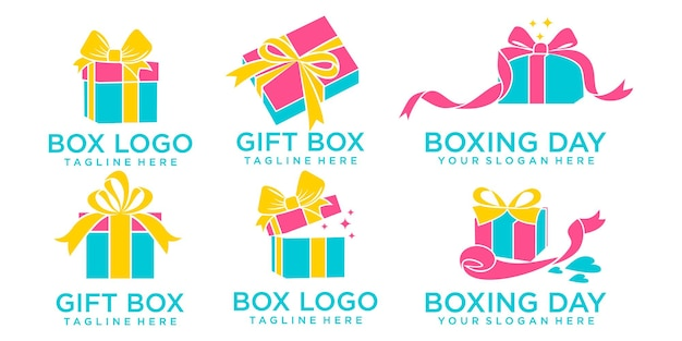 Coffret cadeau icon set logo logo template design vector