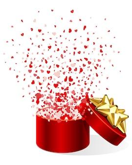 Coffret cadeau avec illustration de confettis coeurs