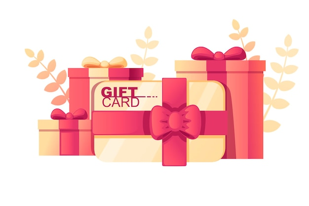Coffret cadeau avec motif abstrait de couleur douce carte-cadeau avec des feuilles sur fond illustration vectorielle plane sur fond blanc.