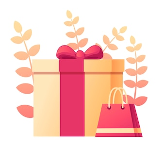 Coffret cadeau avec motif abstrait de couleur douce avec des feuilles sur fond illustration vectorielle plane sur fond blanc.