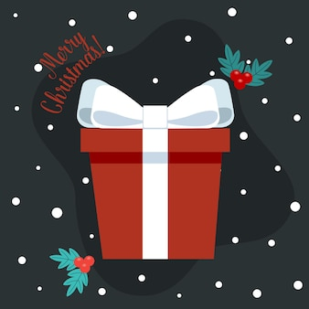 Coffret cadeau de noël avec noeud et objet festif décoratif joyeux noël et bonne année