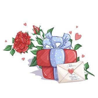 Coffret cadeau avec un noeud bleu, une enveloppe et une rose rouge.