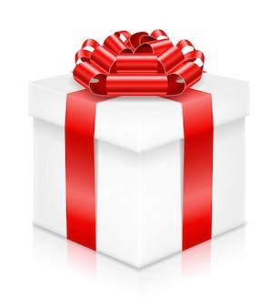 Coffret cadeau avec noeud et ruban sur blanc