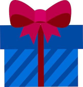 Coffret cadeau avec un nœud style plat une boîte avec une surprise à l'intérieur