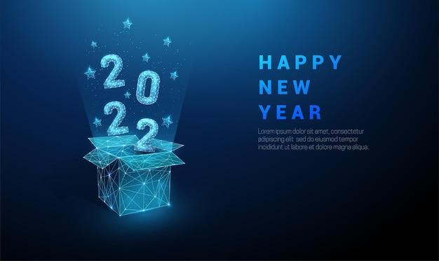 Coffret cadeau ouvert abstrait et numéros volants 2022