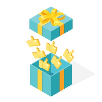 Coffret cadeau ouvert avec les pouces vers le haut isolé sur fond blanc