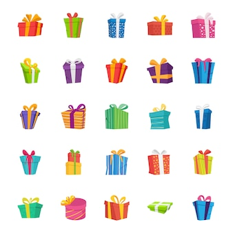 Coffret cadeau plat vector icons set