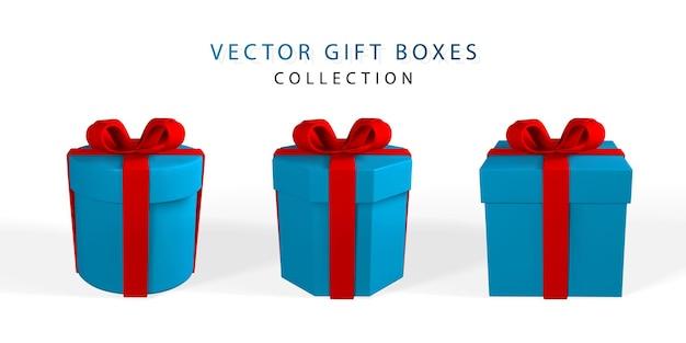 Coffret cadeau réaliste 3d avec arc rouge. boîte en papier avec ruban, ombre et confettis isolés sur fond blanc. illustration vectorielle.
