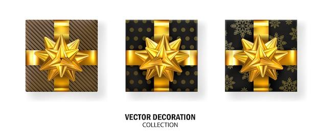 Coffret cadeau réaliste avec nœuds et rubans en or