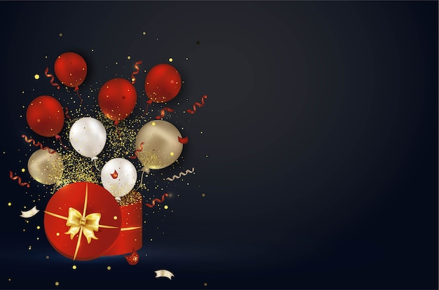 Coffret cadeau rouge ouvert avec explosion de confettis surprise, ballons à air comprimé, serpentine, lumières.