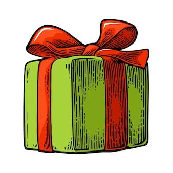 Coffret cadeau avec ruban et archet pour joyeux noël et bonne année gravure vectorielle