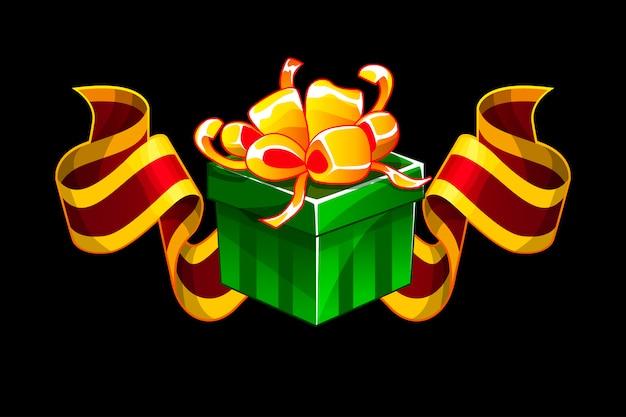 Coffret cadeau avec ruban de récompense rouge. icônes bonus de cadeaux isométriques de dessin animé pour les ressources de jeu de l'interface utilisateur.