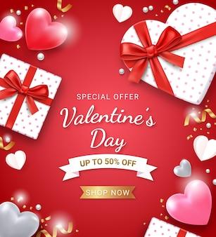 Coffret cadeau avec ruban rouge et coeur 3d. fond de carte de saint valentin.