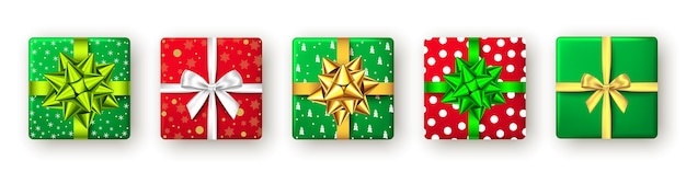Coffret cadeau avec ruban vert rouge et doré et vue de dessus de l'arc