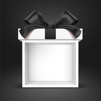 Coffret cadeau stand blanc, enveloppé d'un nœud en satin noir, debout sur un fond dégradé noir. illustration vectorielle de boîte-cadeau ouverte.