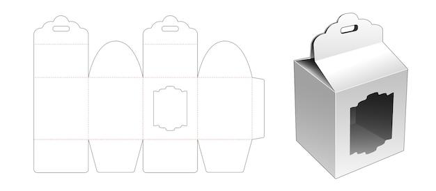 Coffret cadeau avec trou de ruban et modèle de découpe de fenêtre