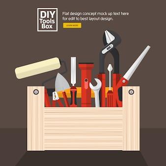 Coffret d'outils de travail à main design plat