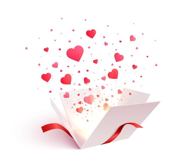 Coffret ouvert avec des confettis en forme de coeur éclaté explosion. 3d saint valentin. cadeau romantique