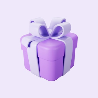 Coffret violet 3d avec noeud de ruban pastel isolé sur fond clair. rendu 3d volant boîte surprise de vacances moderne. icône vectorielle réaliste pour les bannières de cadeau, d'anniversaire ou de mariage